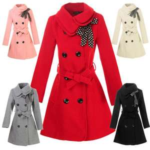 Fashion Womens Woolen Warm Winter Long Coat Jacket Trench Slim Fit M