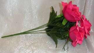 84 OPEN ROSES ~ FUCHSIA WATERMELON HOT PINK Soft Silk Wedding Flowers