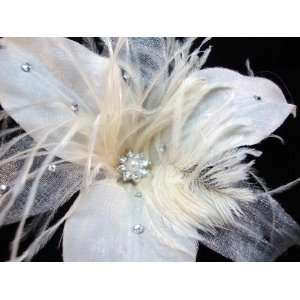 Feather and Swarovski Crystal Lily Hair Flower Clip, Limited. Beauty