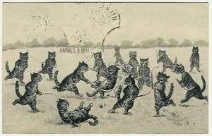Cats, Louis Wain ?, Cats Playing Field Hockey, comic old postcard