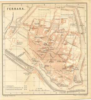 Ferrara Italy Color Map of City Streets 1895 Detailed