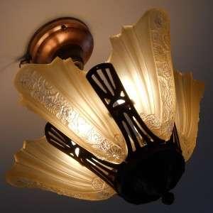 Deco Antique Chandelier Vintage Ceiling light fixture lamp Slip Shade