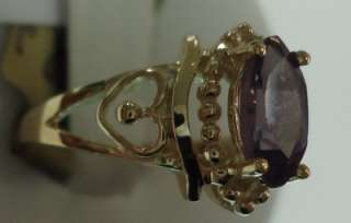 Lovely 10KT Yellow Gold Alexandrite June Birthstone Ladies Ring