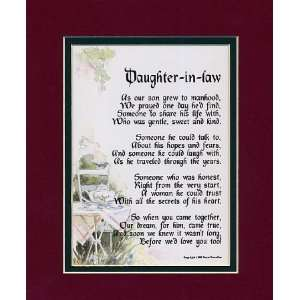 Daughter In Law Framed 8x10 Poem,Double matted in