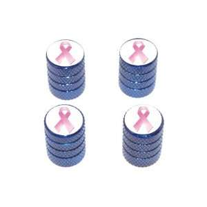 Breast Cancer Ribbon   Tire Rim Valve Stem Caps   Blue