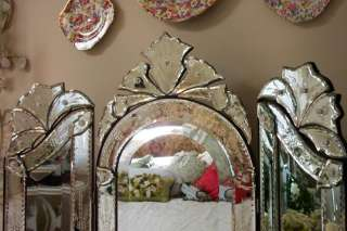 Tri Fold Venetian Glass Vanity Mirror~Dresser ~Trifold