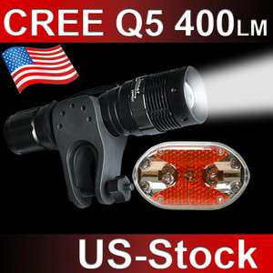 7W Cree Q5 LED Mountain Bike Bicycle Head Front Flashlight + Tail