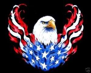 PATRIOTIC AMERICAN FLAG EAGLE RIDE BIKER T SHIRT WS67