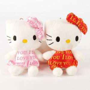 Hello Kitty Plush Doll Stuffed Toy 2pcs Pink Red Toys