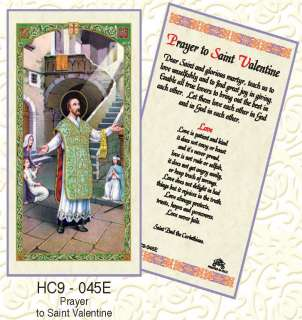 PRAYER TO SAINT VALENTINE CATHOLIC HOLY CARD(3 CARDS)