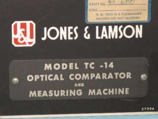 JONES & LAMSON TC 14 OPTICAL COMPARATOR 14