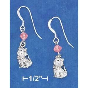 Pink Kitty Swarovski Sterling Silver Earrings