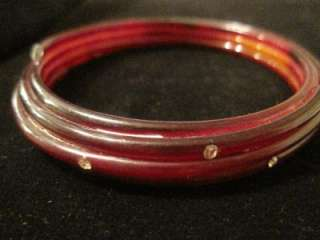 Vintage, Celluloid, cherry amber and rhinestone, coiled, bangle