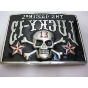 The Original Lucky 13 Skull Belt Buckle    Reverse