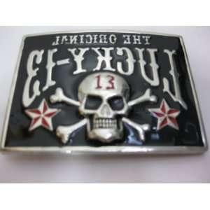 The Original Lucky 13 Skull Belt Buckle    Reverse
