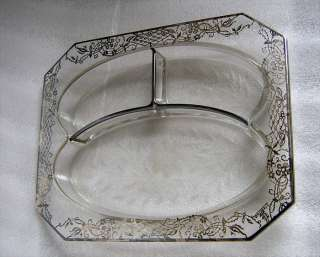 ANTIQUE SILVER OVERLAY GLASS DIVIDED DEEP DISH SIGNED!!