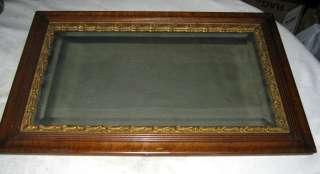 ANTIQUE MISSION OAK HARD WOOD BEVELED GLASS MANTLE HOME FRAME ART