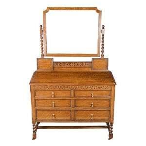 Oak Antique Dressing Table on Barley Twist Legs Furniture & Decor
