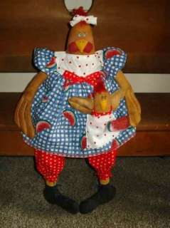 PATTERN PRIMITIVE DOLL MAMA CHICKEN DOLL, ROOSTER BABY & WATERMELON