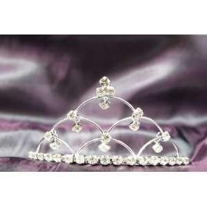 Princess Bridal Wedding Tiara Crown with 6 Crystal Leaf