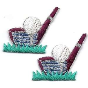 Sport/Golf Club,Tee & Ball Iron on Embroidered Applique