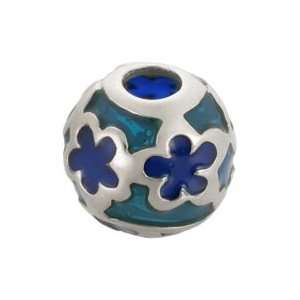 Bacio Italian Swarovski Bead Italian Blue Flower Silver Glass Charm