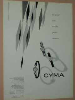 1949 1956 CYMA FRENCH WATCH ADS MENS AND LADIES WATCHES