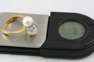 Fine Estate Jewelry 18KT Gold Diamond Pearl Ring Size 6