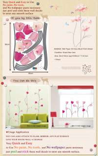 SS 58225 PINK TULIP Adhesive Wall Decor Mural Sticker