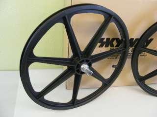Skyway BMX Tuff Wheel 24 Cruiser Mag Wheels Black Set NEW