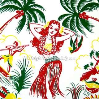 Tablecloth Hawaiiana Hula Girl Palm Trees Tropical Oahu FREE SHIP