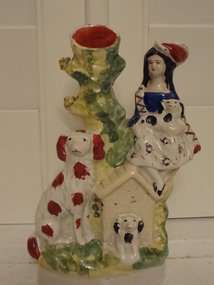 Antique Staffordshire Spill Vase Woman w/Dogs Doghouse Figure Figurine