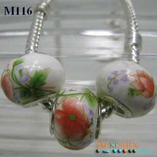Flower Murano Glass Beads European Charm Bracelet M116