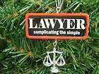new lawyer sign justice attorney law christmas tree ornament returns