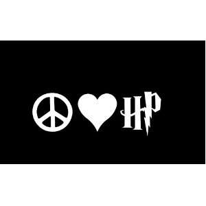 Peace Love Harry Potter Car Window Decal Sticker White 6