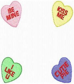 SINGLE CANDY HEARTS FRAME EMBROIDERY MACHINE DESIGN