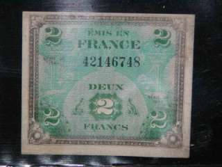 VINTAGE MONEY France, Deux Francs, Series 1944 Bill