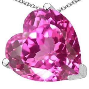 CandyGem 14k Gold Lab Created Heart Shape Pink Topaz Pendant(Metal