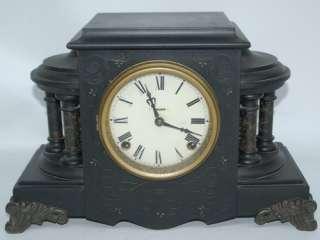 ANTIQUE INGRAHAM 8 DAY TIME & STRIKE RAVEN MANTLE CLOCK