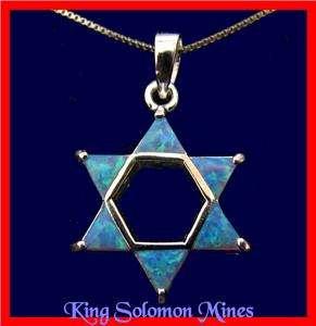 925 STERLING SILVER BLUE OPAL STAR DAVID HAMSA NECKLACE