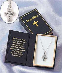 STERLING SILVER INSPIRATIONAL NECKLACE   PRAYING HANDS / FOOTPRINTS