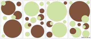 Green/Brown Kids Nursery Polka Dots Wall Sticker Decal