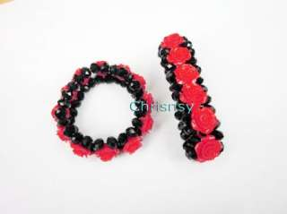 New Fashion Bracelet Black Crystal Beads Red Rose 1pcs