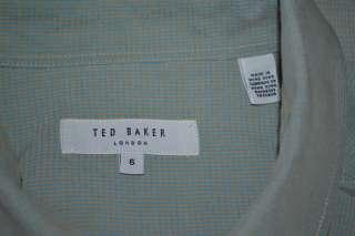 TED BAKER LONDON LONG SLEEVE BLUE GRAY CASUAL MODERN BUTTON DOWN SHIRT