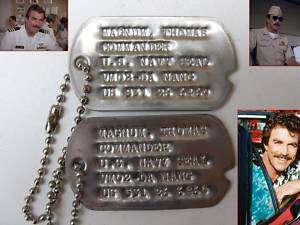 MAGNUM P.I. / TOM SELLECK/ NAVY SEAL/ MILITARY DOG TAGS