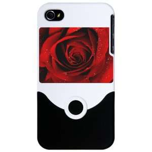 iPhone 4 or 4S Slider Case White Red Rose