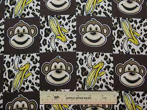 Monkey Heads Bananas Leopard Print Browns Cotton Flannel Fabric BTY