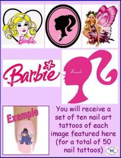 50 x Finger / Toe Nail Art Tattoo Decals   Barbie