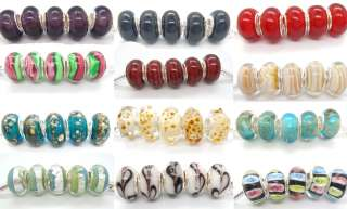 R268 5pcs lovely Murano Glass Bead Fit European Charm Bracelet