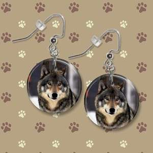 TIMBER WOLF 2** 1 Button Dangle Earrings **FREE PIN** USA Seller